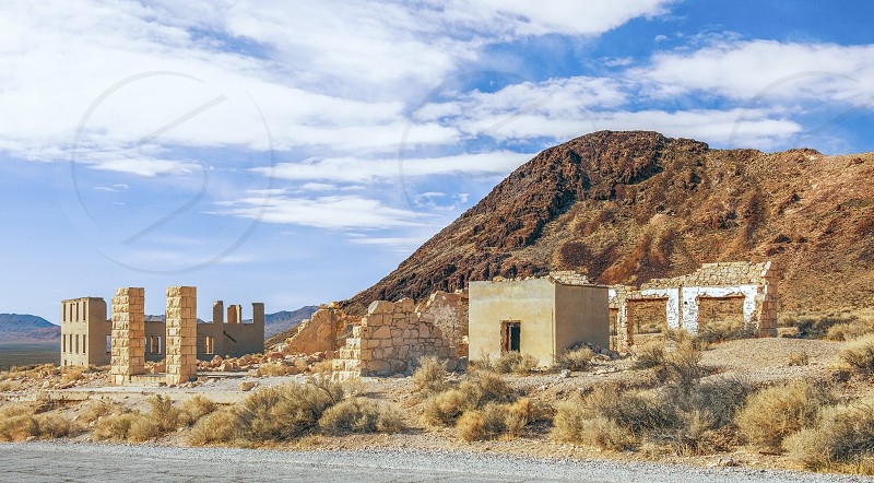 Ruins of the Overbury Building and Bishop Jewelry Store in Rhyolite ghost town. Nevada. USA photo