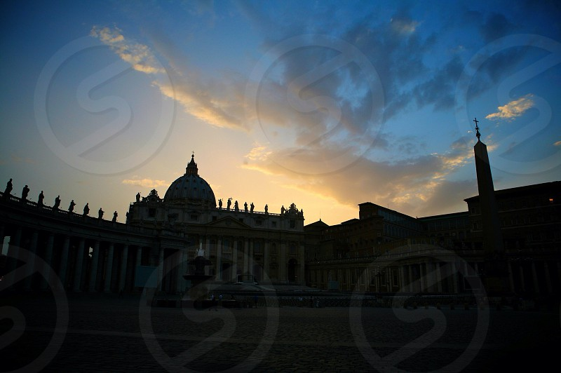blue sky white cathedral photography  photo