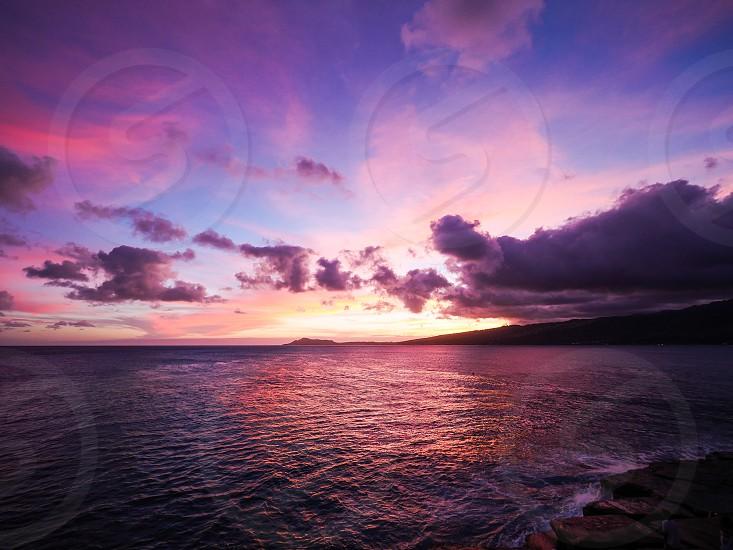 Colorful sunset hawaii photo