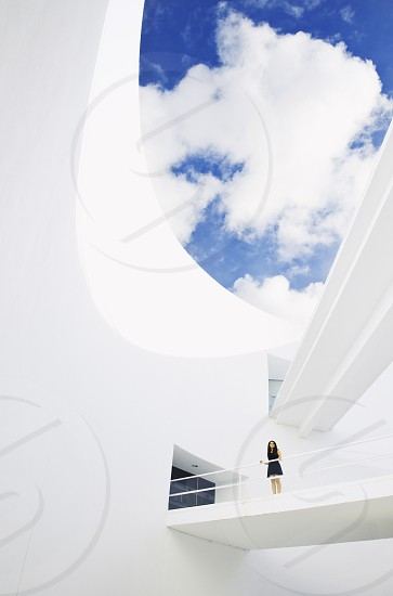 architecture woman people space minimal sky light photo