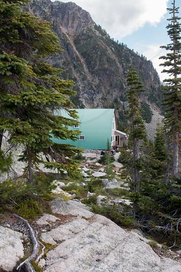 Iconic Bugaboos Conrad Kain hut in British Columbia photo