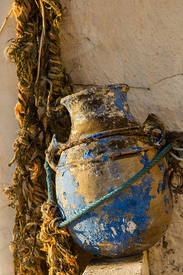Details of the roof terrace home in Essaouira Morocco. photo