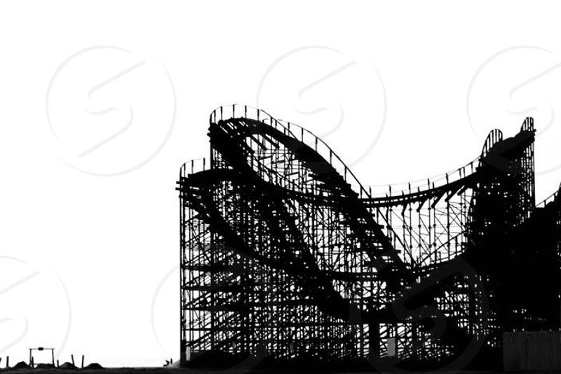 black and white roller coaster rides photo
