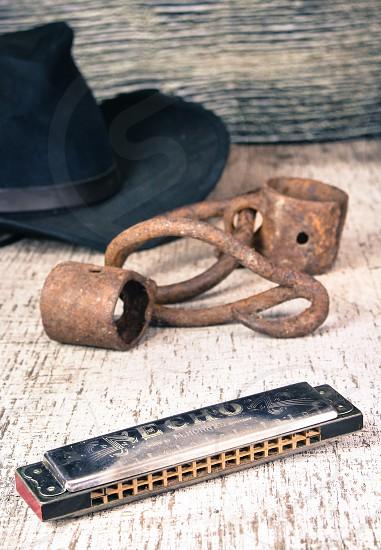 harmonica on a table photo
