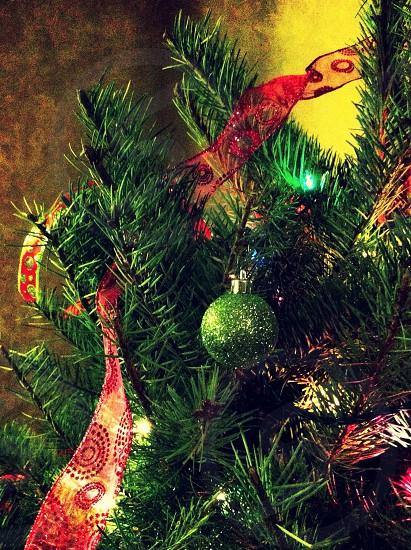 green christmas ball on tree photo