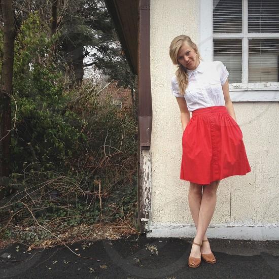 woman wearing red skirt photo