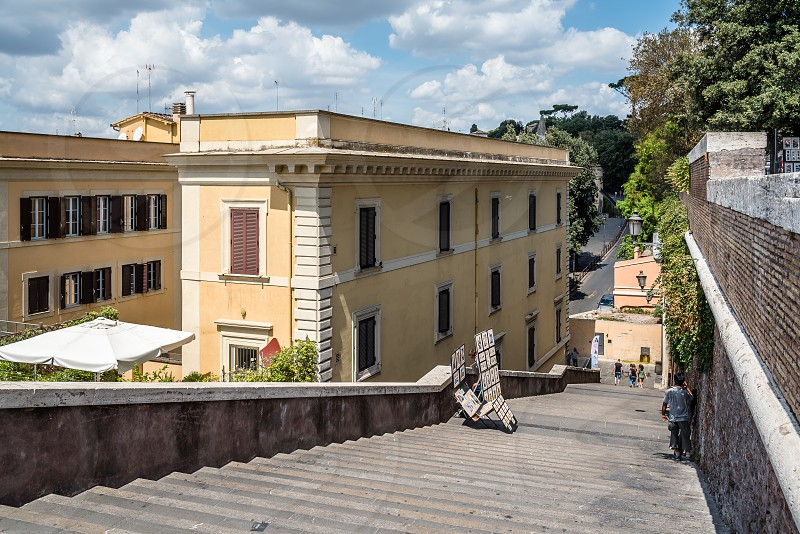 Stairway in Rome in Trinita dei Monti near Spanish Steps photo