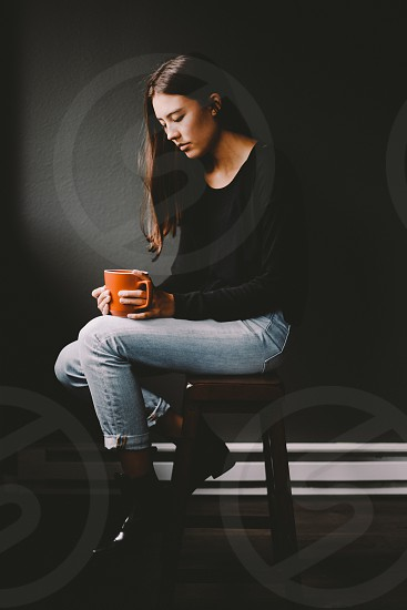 girl portrait sunlight window coffee mug photo