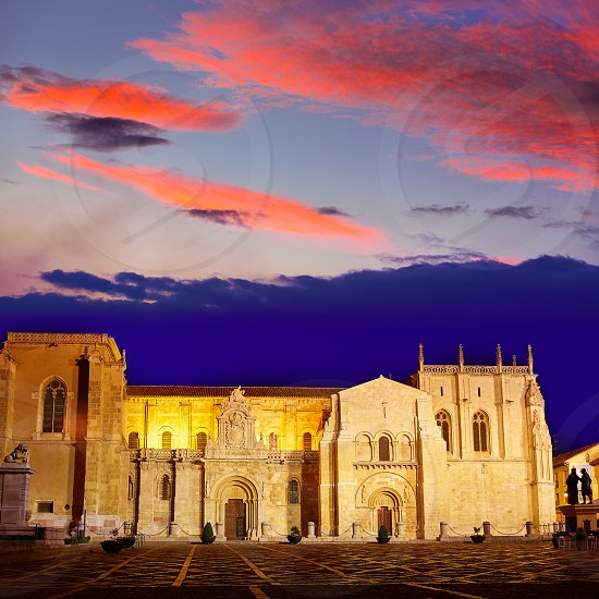 Leon San Isidoro church sunset by the way of saint James at Castilla Spain photo
