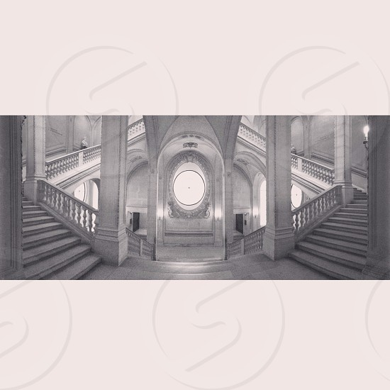 white grand indoor staircase photo