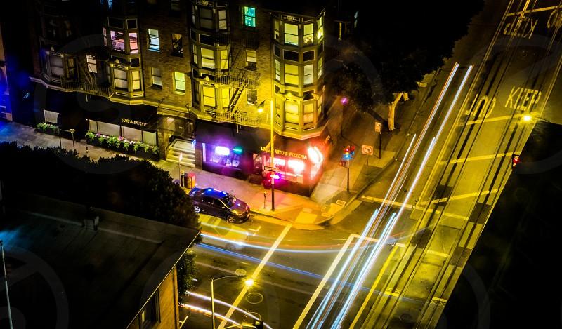 Night street corner photo