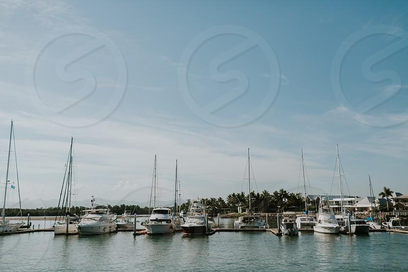 boats at port denarau island fiji photo