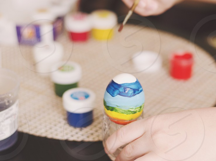 Creative kids painting colorful bright light sunny  photo