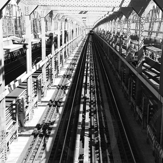black and white subway rail track photography photo