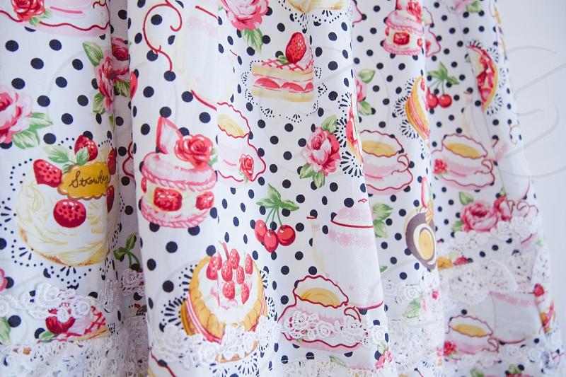 white cake printed textile photo