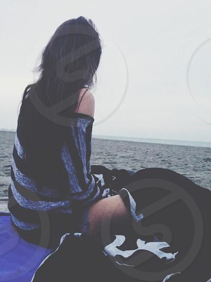 girls black and blue longsleeve stripe tshirt photo