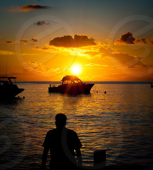 Sunset tropical boats vacation photo