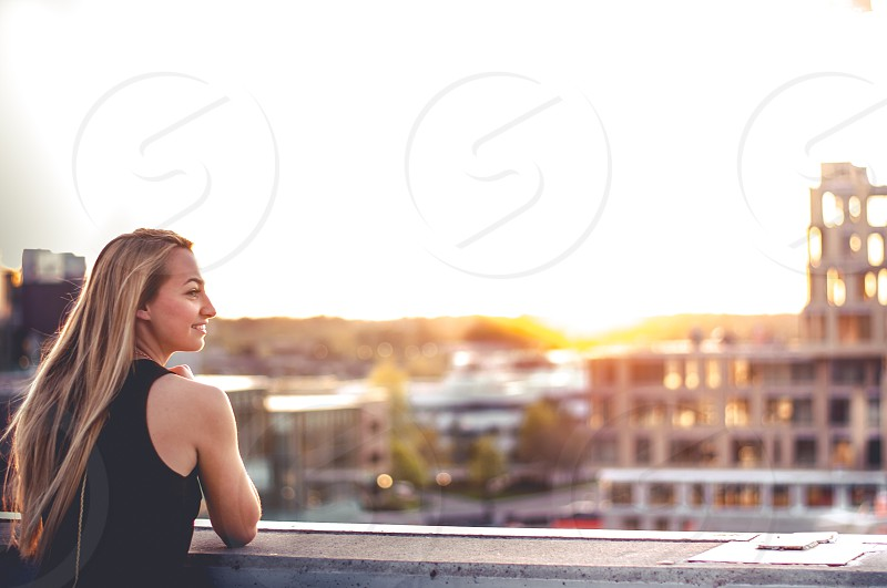 Perfect day view location sunset sunny day outdoor girl photo