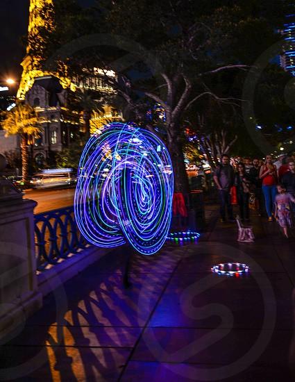 Hula hoop performer in the streets of Las Vegas  photo