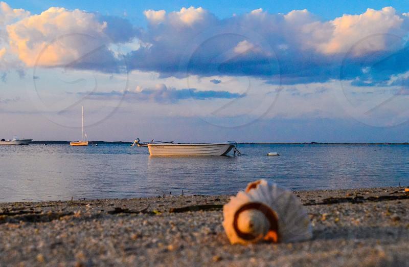 Harbor boat ocean shells evening sunset Summer Nantucket photo