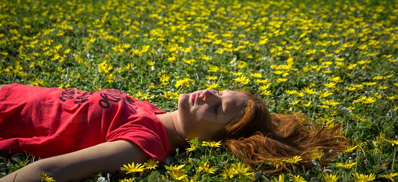 My friend Paula lying on the flowers and grass. Tiburon California.  photo