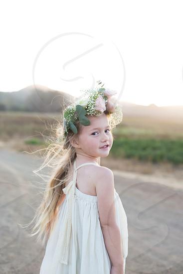 Flower girl wedding bridal beauty child children face girl blonde pretty photo