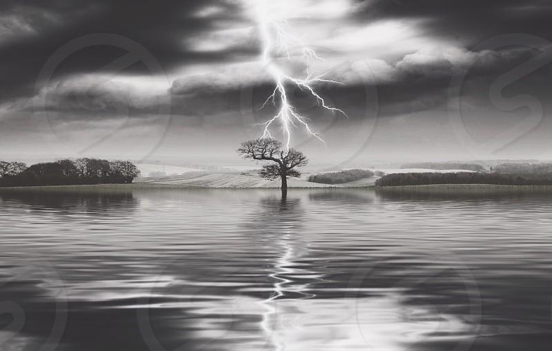 Lightningstrikelandscapeblack and white photo
