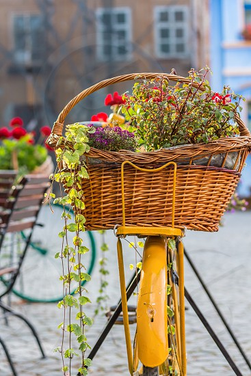 Flowers bicycle decorated bike basket  photo