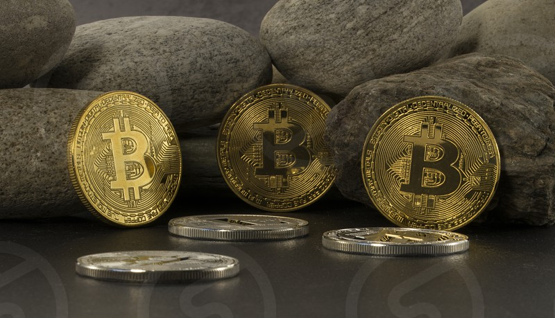 strong bitcoins golden coins  solid as a rock photo