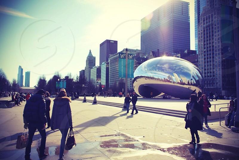 Chrome bean shaped outdoor art piece photo
