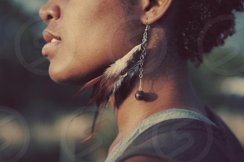 Feathers profile woman black confident bold brave photo