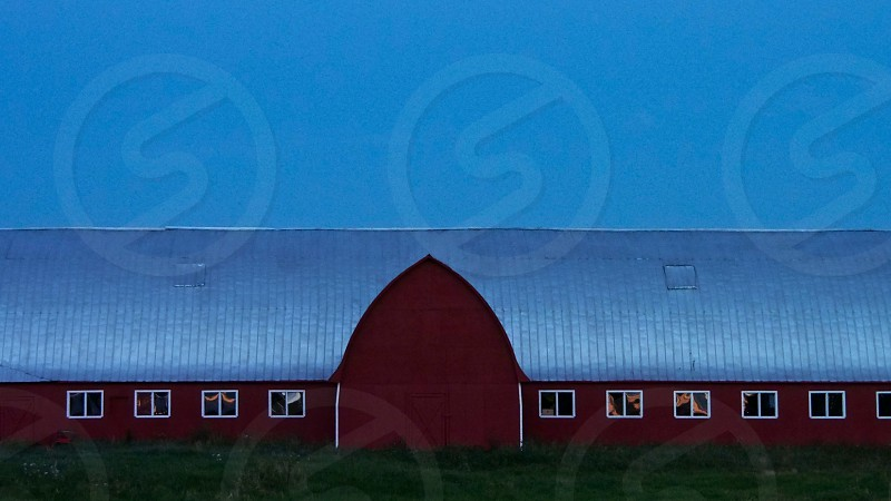 Red Barn at night. photo