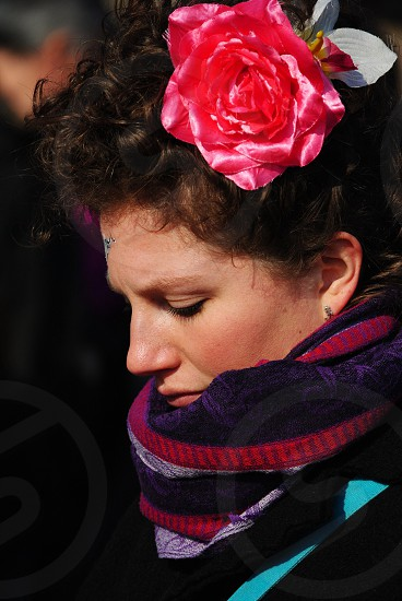 woman in purple and pink scarf photo