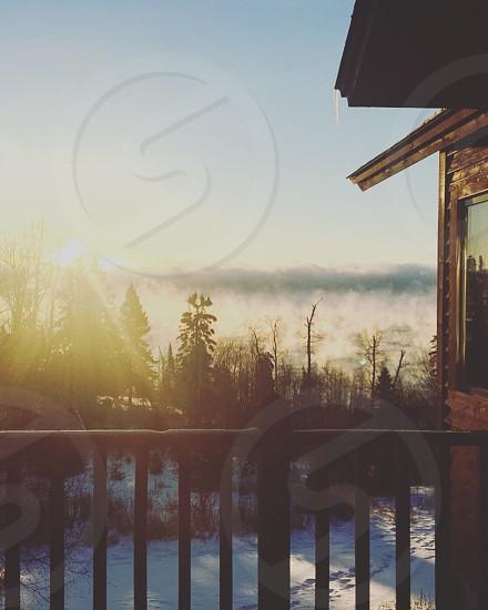 Morning sunrise views of Lake Superior with sea smoke  photo