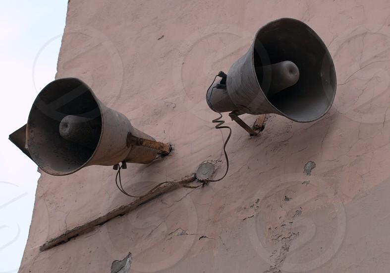 Loudspeaker on the wall in Saint-Petersburg Russia. photo