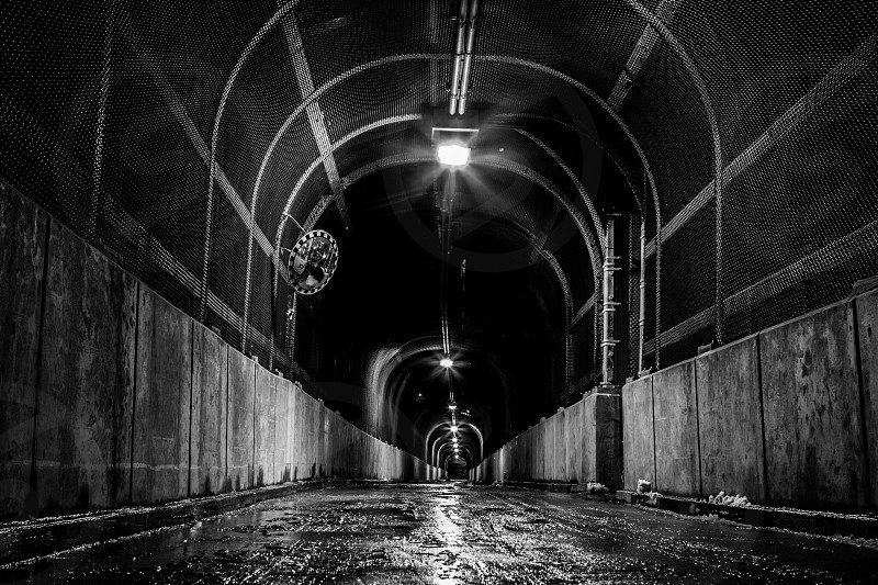 grayscale photo of tunnel photo