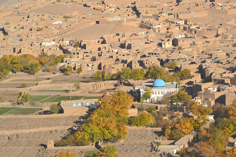 Aerial view of Afghanistan village photo
