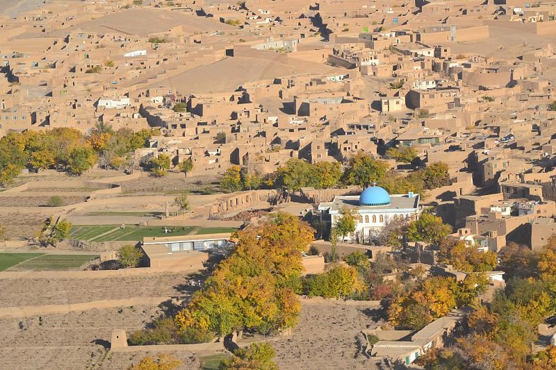 Aerial view of Afghanistan village photo