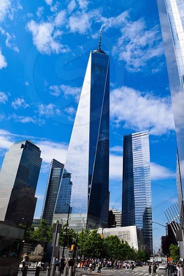 New York City freedom tower American flag freedom remembrance skyscraper skyline  photo