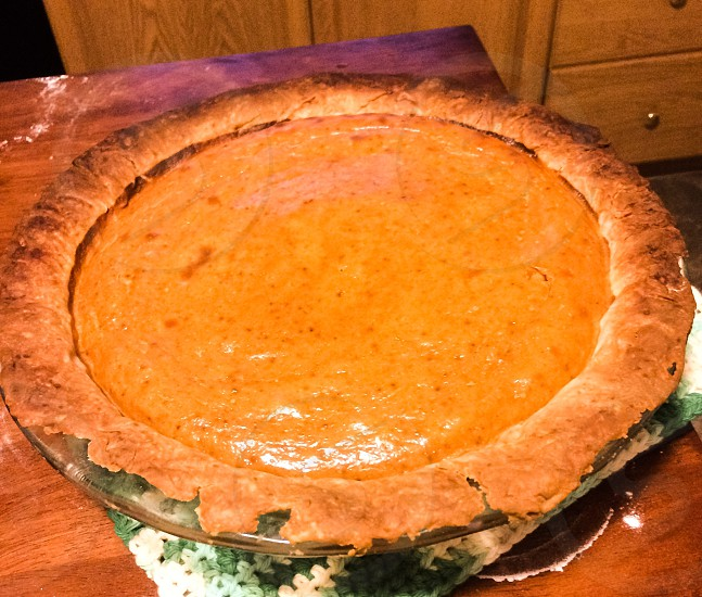 Thanksgiving thanks thankful pumpkin pie homemade. photo
