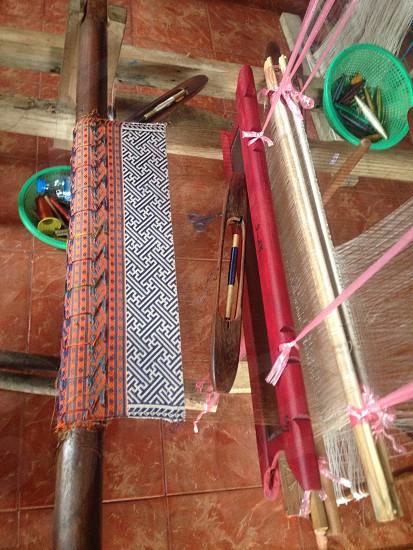 weaving handmade fabric loom photo