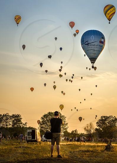 Hot air balloons around Debrecen Hungary photo