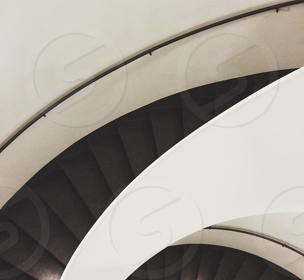 black and white spiral stairs photo