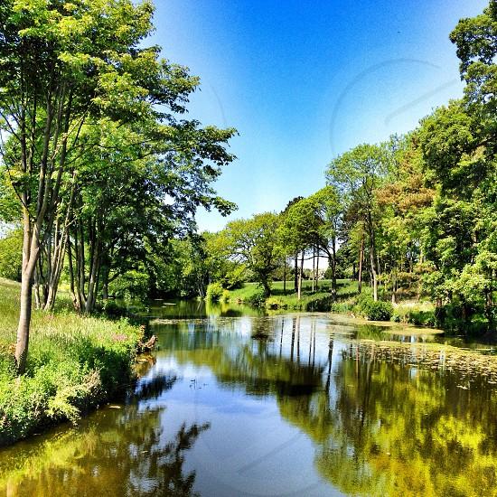 Lake reflection english countryside british summer photo
