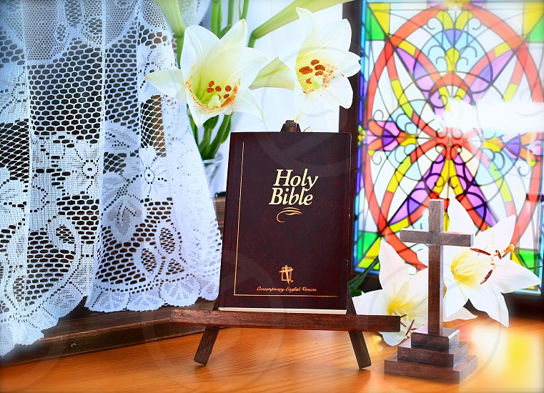 Easter (1): Easter Lilies Holy Bible Cross photo