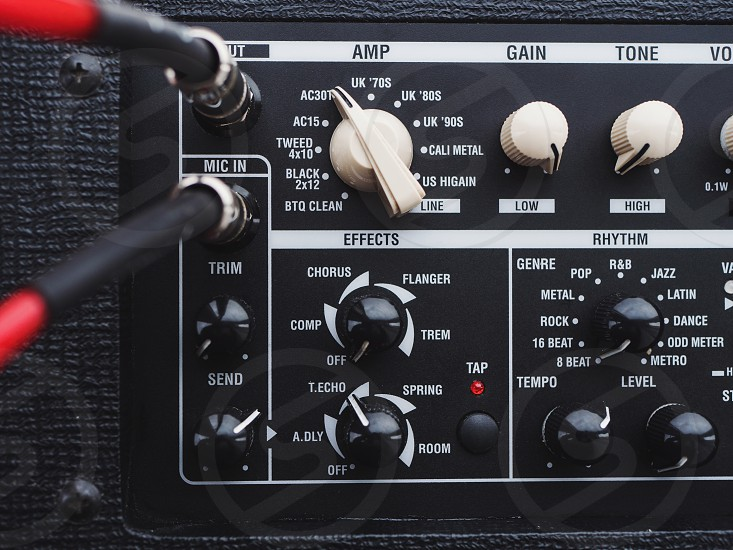 Old guitar amplifier control panel photo