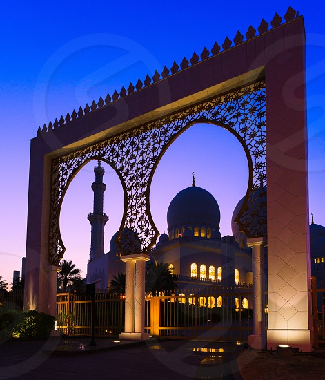 Shiekh Zayed grand mosque from United Arab Emirates at dawn photo