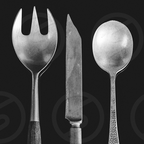 spoon fork knife flatware black and white silver metal vintage photo