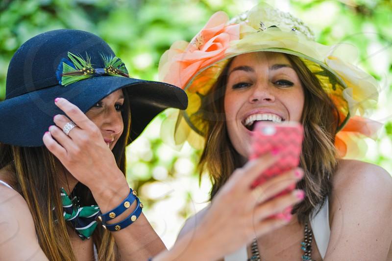 trendy fashion style phone women laugh photo