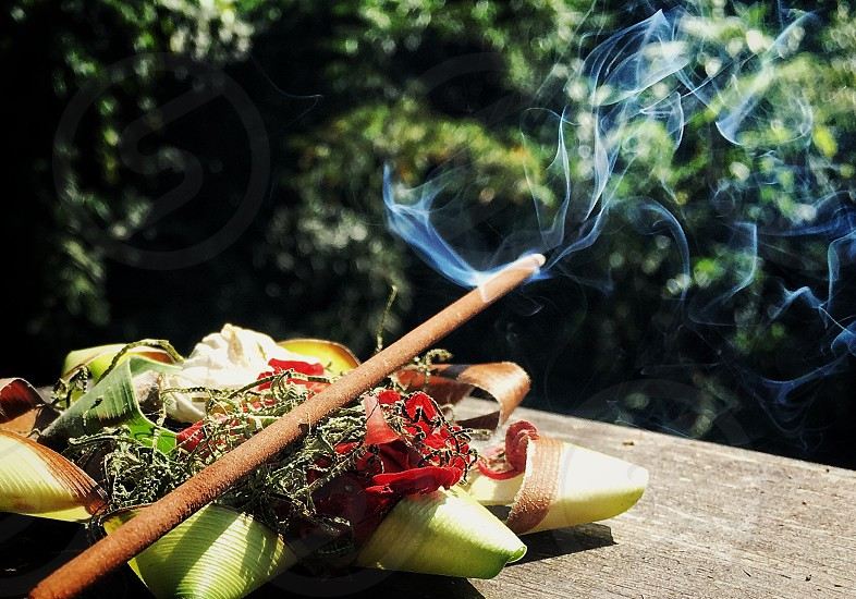 Offerings balinese bali culture traditional incense  photo